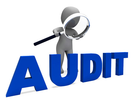Photo for Audit Character Meaning Validation Auditor Or Scrutiny - Royalty Free Image
