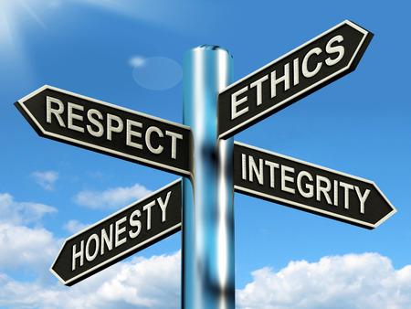 Photo for Respect Ethics Honest Integrity Signpost Meaning Good Qualities - Royalty Free Image