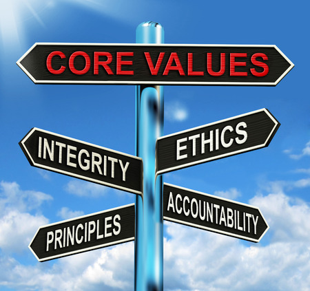 Photo for Core Values Signpost Meaning Integrity Ethics Principals And Accountability - Royalty Free Image
