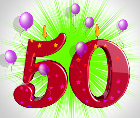 Photo for Number Fifty Party Showing Fiftieth Birthday Candles Or Celebration - Royalty Free Image