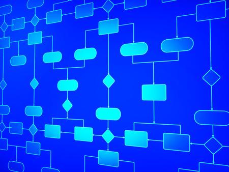 Photo pour Flow Diagram Representing Schematic Process And Procedure - image libre de droit