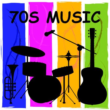 Photo pour Seventies Music Or 1970s Songs Plus Soundtracks - image libre de droit