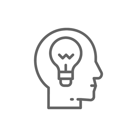 Ilustración de Vector head with lamp, idea generation, think, thought, brain process, knowledge line icon. Symbol and sign illustration design. Isolated on white background - Imagen libre de derechos