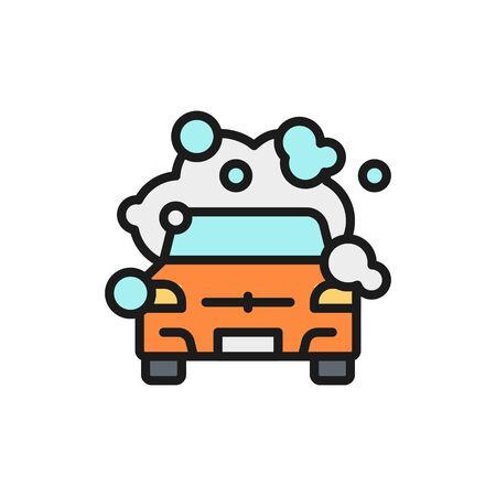 Ilustración de Vector cleaning car flat color line icon. Symbol and sign illustration design. Isolated on white background - Imagen libre de derechos