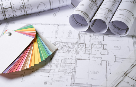 Photo for Architecture plans and sketch of house project - Royalty Free Image