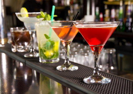 Photo for Five cocktails on the bar counter - Royalty Free Image