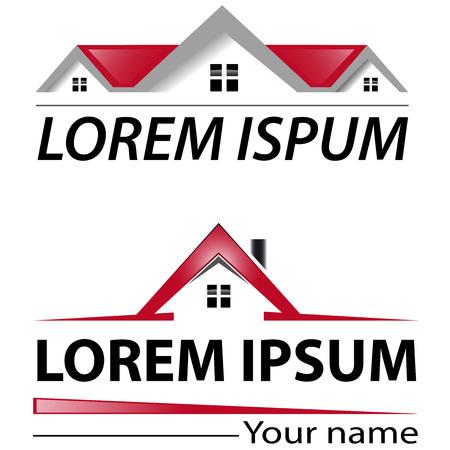 Illustration pour Two logo house with red roof - image libre de droit