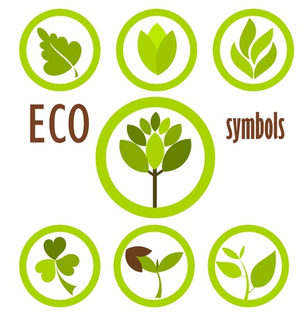 Set of eco icons and symbols in circles.