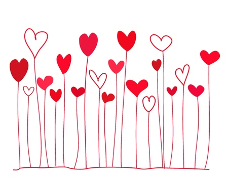 Funny doodle red hearts on stems. illustration