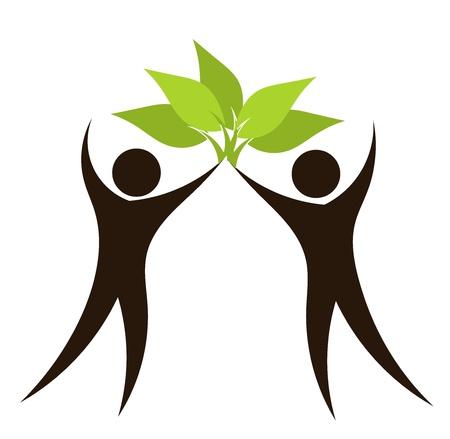 Illustration pour Silhouettes of couple with green leaves. Eco vector illustration - image libre de droit