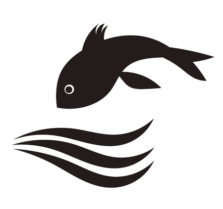 Fish jumping in water. Vector illustration