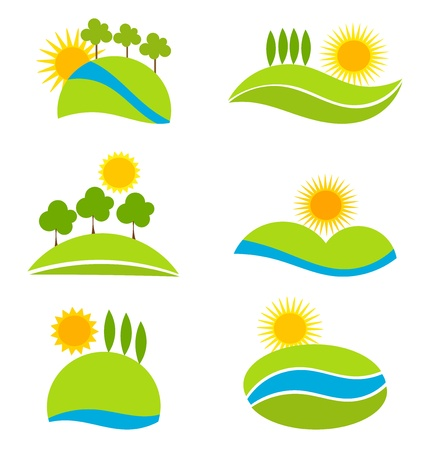 Landscape icons for design. Vector illustration