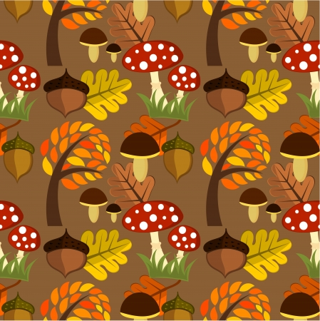 Autumnal forest life seamless pattern
