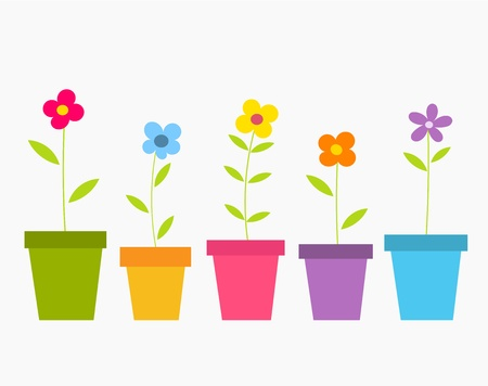 Illustration pour Cute spring colorful flowers in pots. Vector illustration - image libre de droit