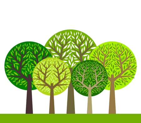 Illustration for The group of green trees illustration - Royalty Free Image