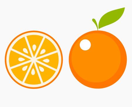 Illustration pour Orange fruit with leaf and slice. Vector illustration - image libre de droit