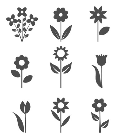 Illustration pour Set of flower icons.  - image libre de droit