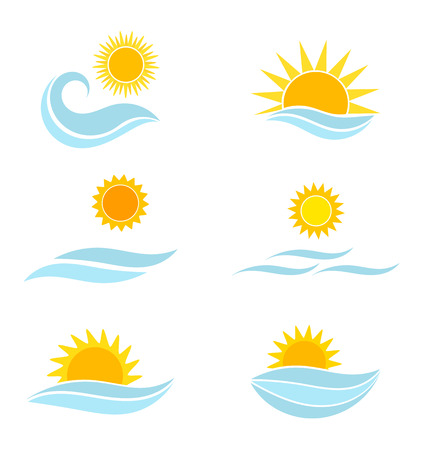 Ilustración de Sun and sea icons. Summer vector illustration - Imagen libre de derechos