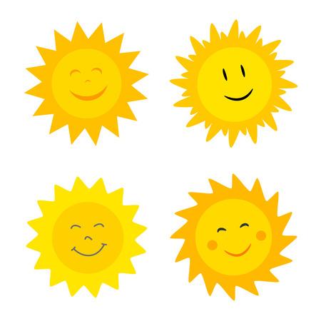 Illustrazione per Smiling suns collection. Vector illustration - Immagini Royalty Free