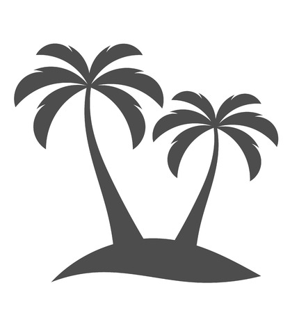Illustration for Palm trees sihouette on island. Vector illustration - Royalty Free Image