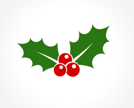 Illustration for Holly berry leaves Christmas icon. Vector illustration - Royalty Free Image