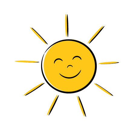 Illustration pour Happy sun icon with smile. Vector illustration - image libre de droit