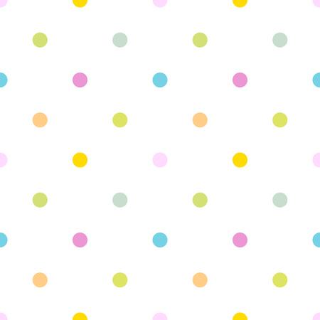 Illustration pour Colorful polka dot seamless pattern, white background - image libre de droit
