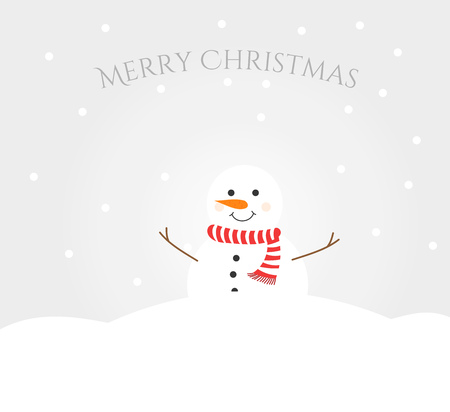 Illustration pour Snowman in winter landscape. Merry Christmas greeting card - image libre de droit