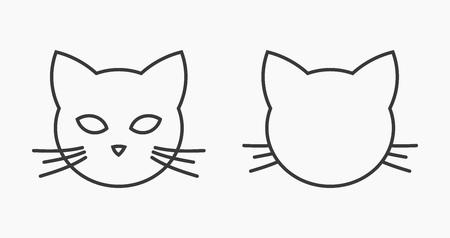 Illustrazione per Cat head face line icons. Vector illustration. - Immagini Royalty Free