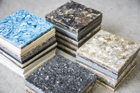 Photo pour Kitchen counters samples made from natural stone - image libre de droit