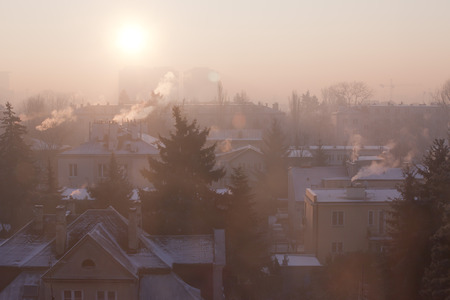 Photo for Smog in winter time in Warsaw, Poland - Royalty Free Image