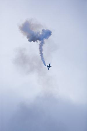 Foto de Radom, Poland- August 24, 2018: A group of aircrafts flies during air show - Imagen libre de derechos