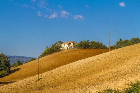 Photo for Tuscan countryside landscape with farmhouse - Royalty Free Image