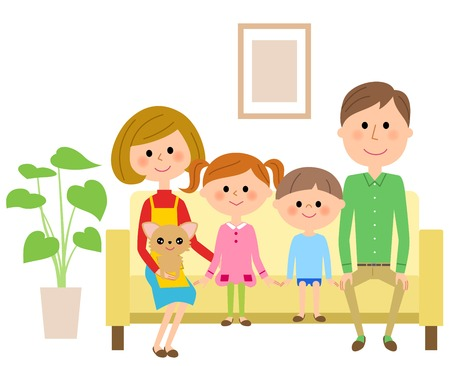 The family which sits down on a sofa and relaxes
