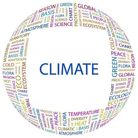 CLIMATE. Word collage on white background. Vector illustration.