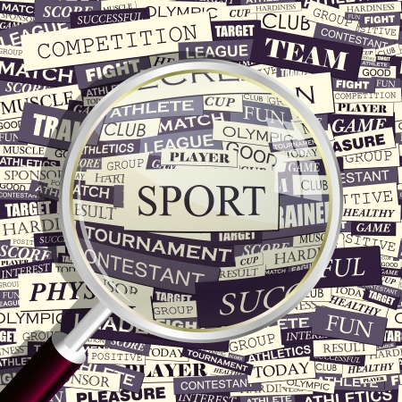 SPORT  Magnifying glass and seamless background