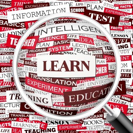 Ilustración de LEARN  Word cloud concept illustration  - Imagen libre de derechos