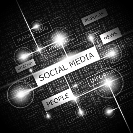 Photo pour SOCIAL MEDIA  Word cloud concept illustration    - image libre de droit