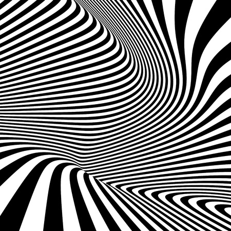 Illustration pour Pattern with optical illusion. Black and white background. Vector illustration. - image libre de droit