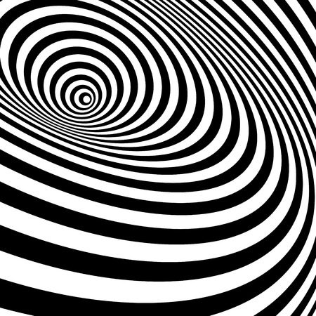 Illustration pour Black And White Abstract Striped Background. Optical Art. Vector Illustration. - image libre de droit