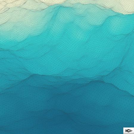 Illustration pour Water Surface. Wavy Grid Background. Mosaic. 3d Vector Illustration. Abstract Texture. - image libre de droit