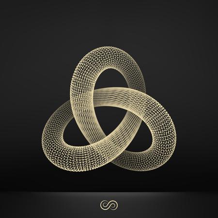 Illustration pour Trefoil Knot. Connection Structure. Vector 3D Illustration. - image libre de droit