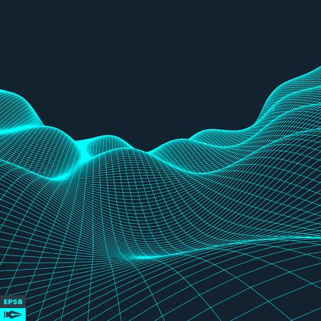 Illustration pour Abstract vector landscape background. Cyberspace grid. 3d technology vector illustration. - image libre de droit