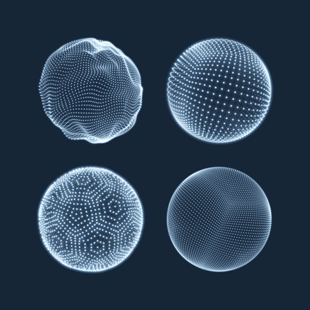 Ilustración de The Sphere Consisting of Points. Abstract Globe Grid. Sphere Illustration. 3D Grid Design. 3D Technology Style. Networks - Globe Design.Technology Concept. Vector Illustration. - Imagen libre de derechos