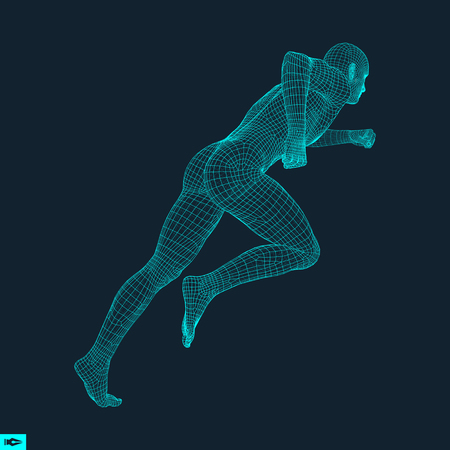 Ilustración de 3d Running Man. Design for Sport, Business, Science and Technology. Vector Illustration. Human Body. - Imagen libre de derechos