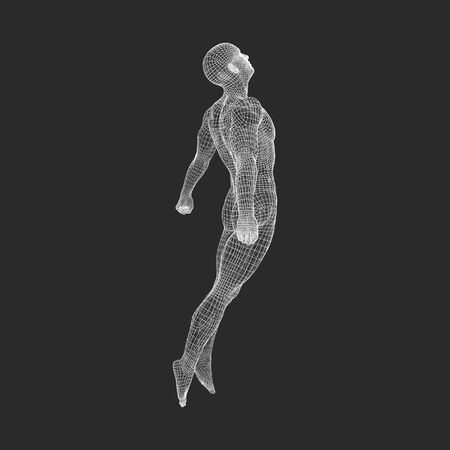 Illustration for Hovering in Air. Man Floating in the Air. 3D Model of Man. Human Body. Design Element. Vector Illustration. - Royalty Free Image