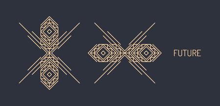 Ilustración de Line art design for invitation, poster, badge, monogram. Elegant luxury design template. Vector illustration. - Imagen libre de derechos