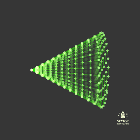 Illustration pour Cone with connected lines and dots. Abstract 3D connection structure. Geometric shape for design. - image libre de droit
