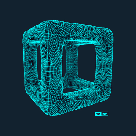 Illustrazione per Cube. Connection structure. 3d grid design. Technology style. Molecular lattice. - Immagini Royalty Free