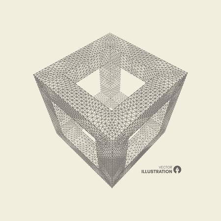 Illustration pour Cube. Connection structure. 3d grid design. Technology style. Molecular lattice. - image libre de droit
